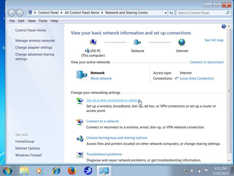 """cách phát wifi bằng máy tính tiếp tục chọn Network and Sharing Center, bạn chọn mục """"Set up a new connection or network"""""""