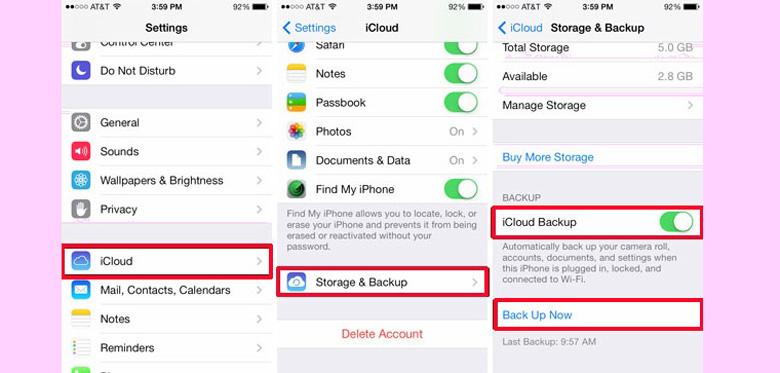Một số lưu ý cần nên biết trước khi chạy chương trình iPhone nên sao lưu trên iCloud