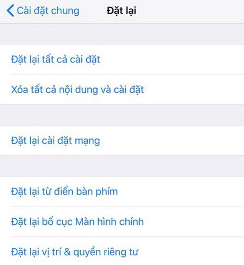 Chạy lại chương trình iPhone khôi phục lại cài đặt gốc nhấn