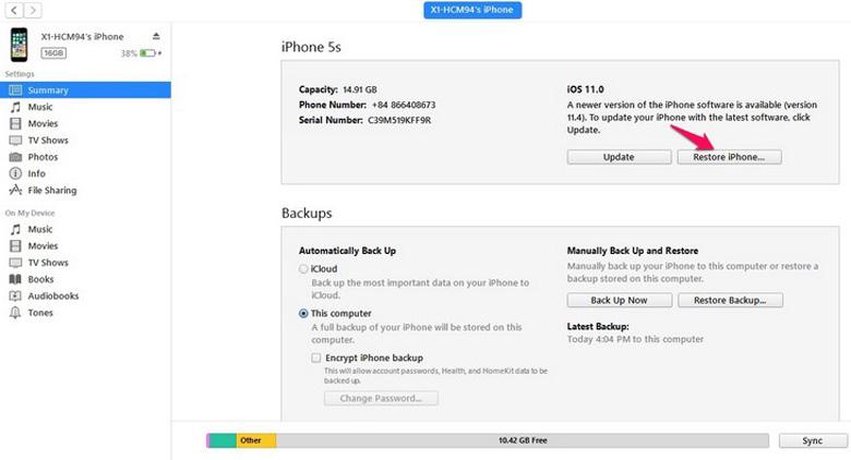 Chạy chương trình iPhone qua iTunes tiếp tục nhấn