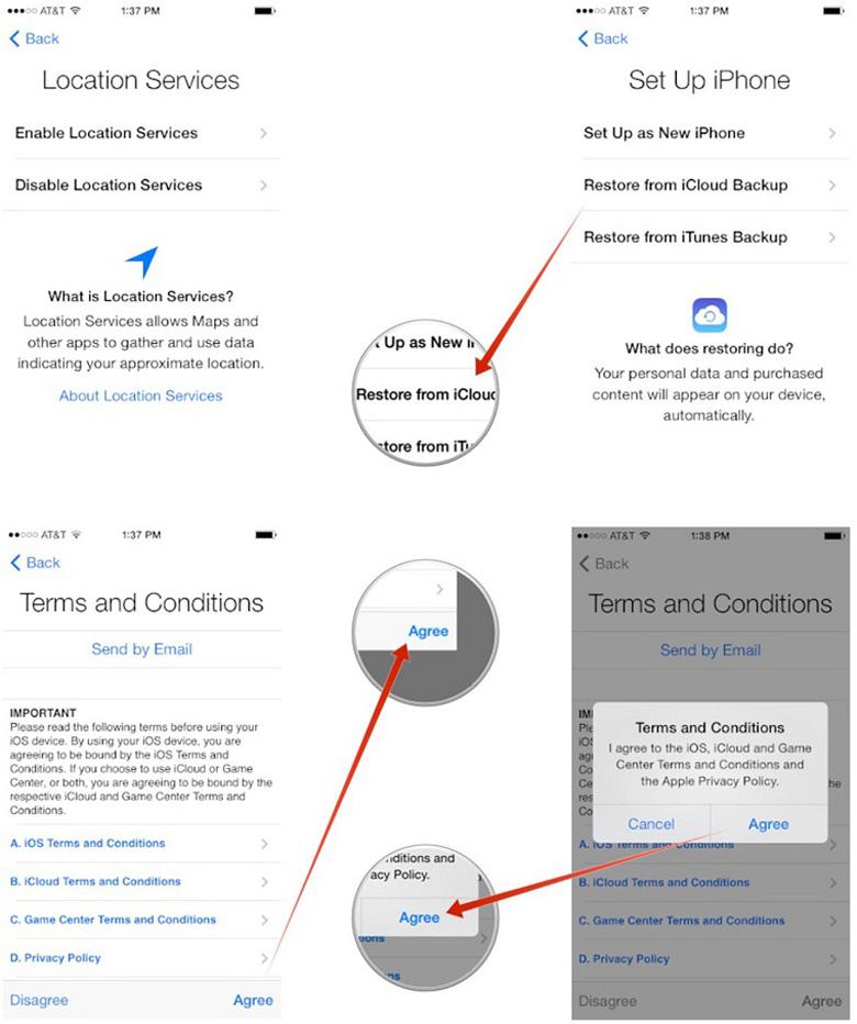 Chạy lại chương trình iPhone sau khi chạy xong cần phục hồi iCloud chọn Location Services