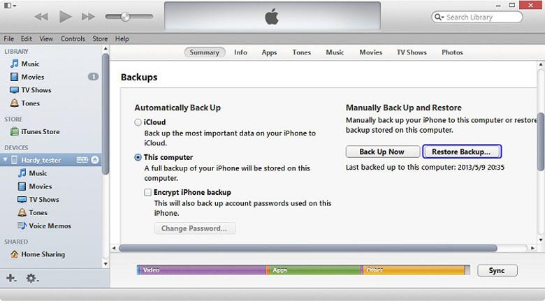 Chạy chương trình iPhone trên iTunes Backup