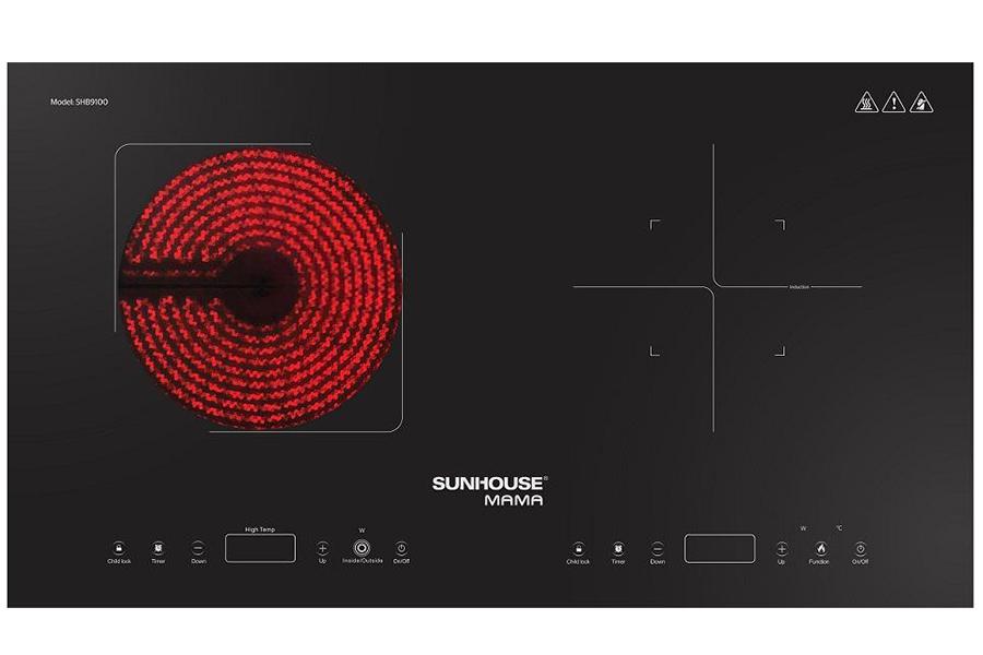 Thiết kế mới Bếp đôi điện từ hồng ngoại Sunhouse SHB9100