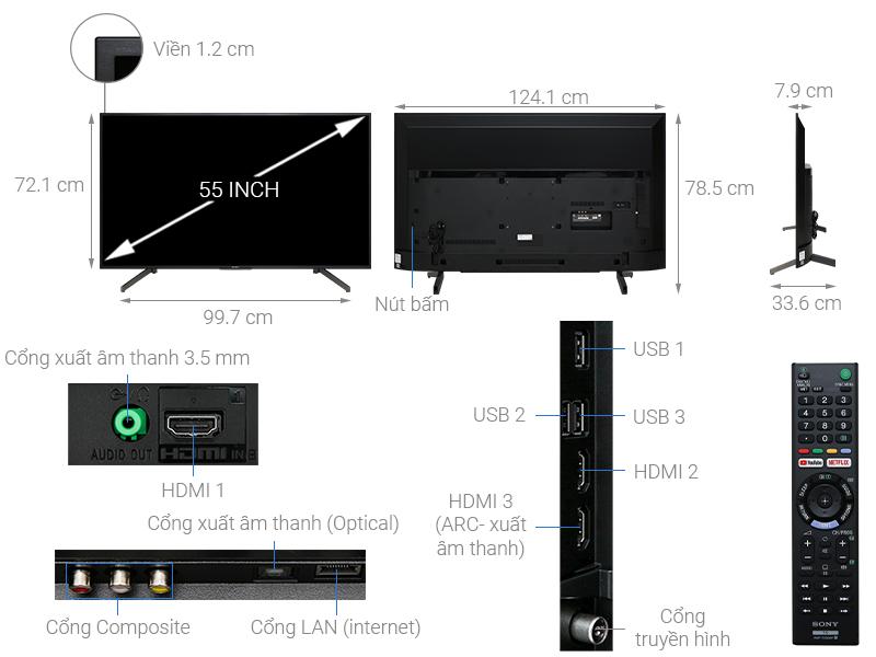 Tivi Sony 55X7000G kích thước