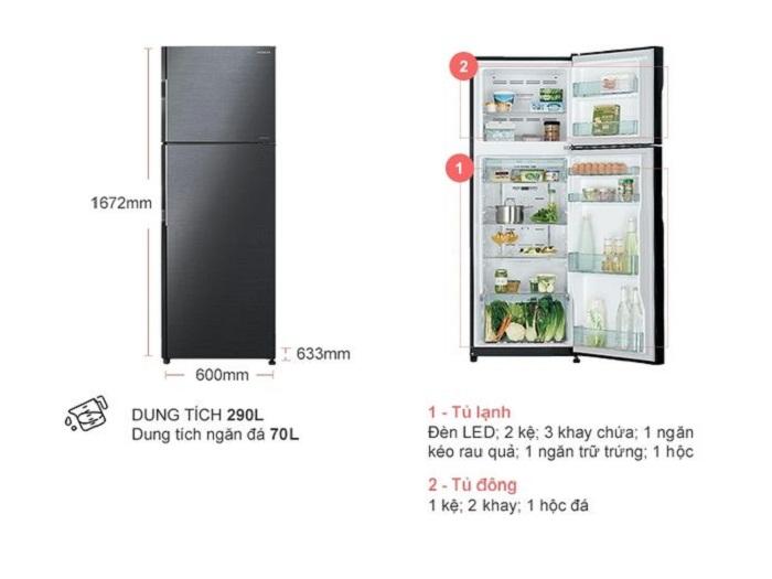mô tả-Tủ lạnh Hitachi H350PGV7(BBK)