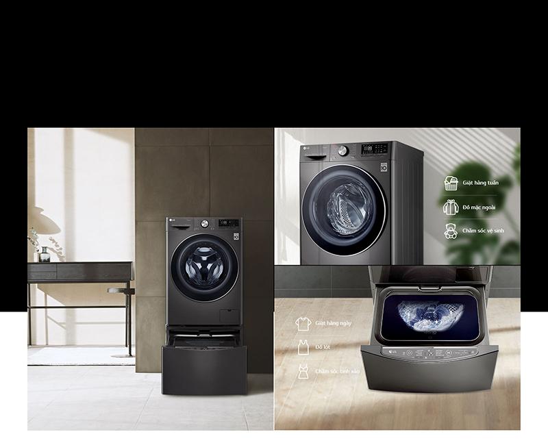 Tích hợp máy giặt lồng đôi TwinWash - Máy giặt lồng ngang LG Inverter 10.5 kg FV1450S2B