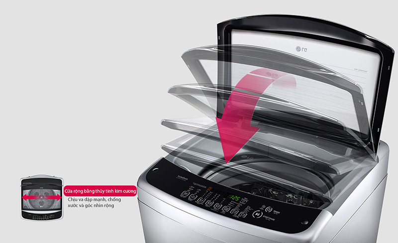 Bảng điều khiển song ngữ - Máy giặt lồng đứng LG inverter 8.5 kg T2185VS2W
