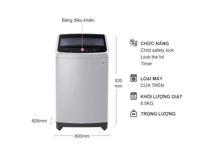 Thiết kế thanh lịch - Máy giặt lồng đứng inverter 8.5 kg LG T2185VS2M
