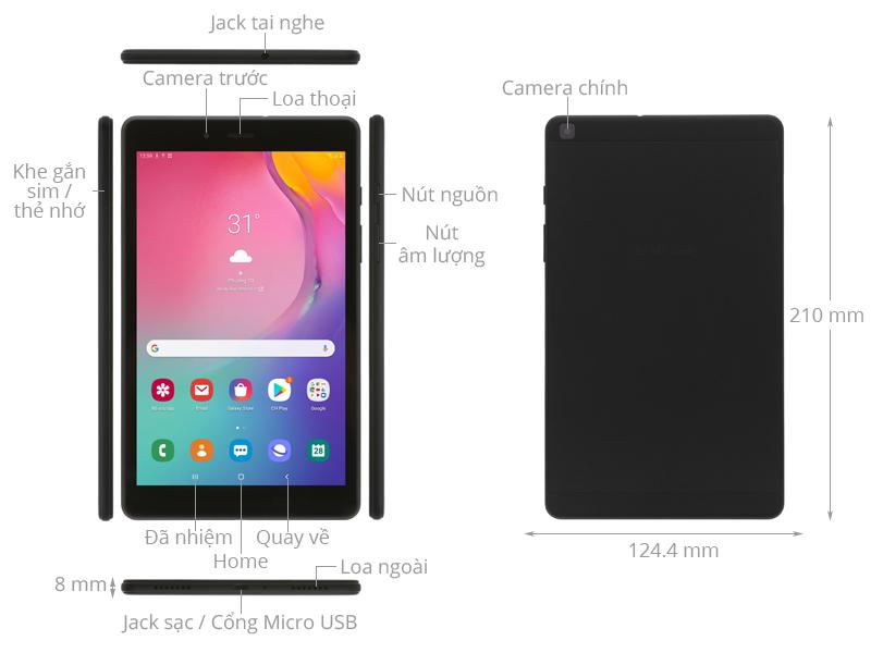 Thiết kế nhỏ gọn - Máy tính bảng Samsung Tab A 8 SM-T295NZKAXEV 2GB/32GB 8 inch Đen