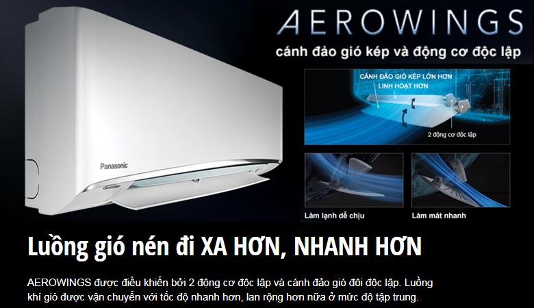 Cánh đảo gió aerowings - Điều hòa Panasonic 1 chiều Inverter 12000BTU CU/CS-U12VKH-8