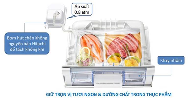 ngăn chân không - Tủ lạnh Hitachi Inverter 569 lít R-FM800XAGGV9X (DIA)