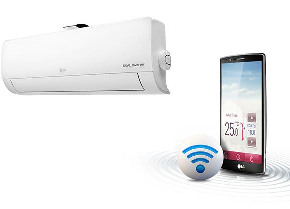 Kết nối wifi, điều khiển bằng điện thoại - Điều hòa LG 2 chiều Inverter 9000BTU B10APF