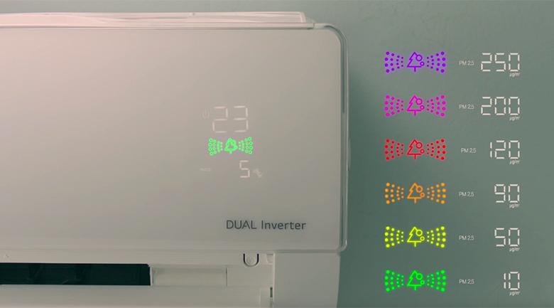 Màn hình hiển thị không khí - Điều hòa LG 2 chiều Inverter 9000BTU B10APF
