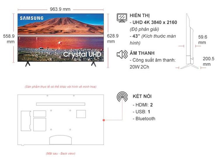 Thiết kế sang trọng - Smart Tivi Samsung 4K 43 inch UA43TU7000KXXV