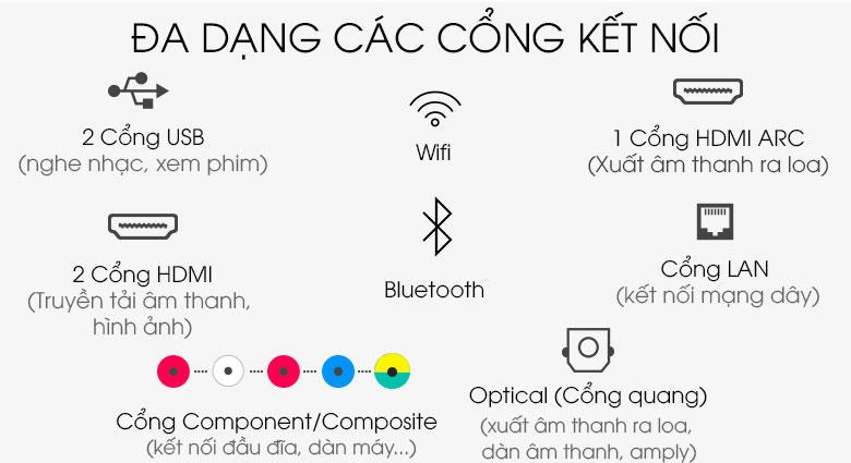 Cổng kết nối tích hợp nhiều để hỗ trợ cho  Tivi Samsung 43TU8500 Smart