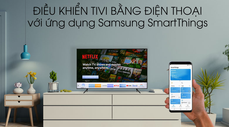 Điều khiển tivi bằng điện thoại với SmartThings dễ dàng - QA43Q65T Tivi QLED Samsung 4K 43 inch