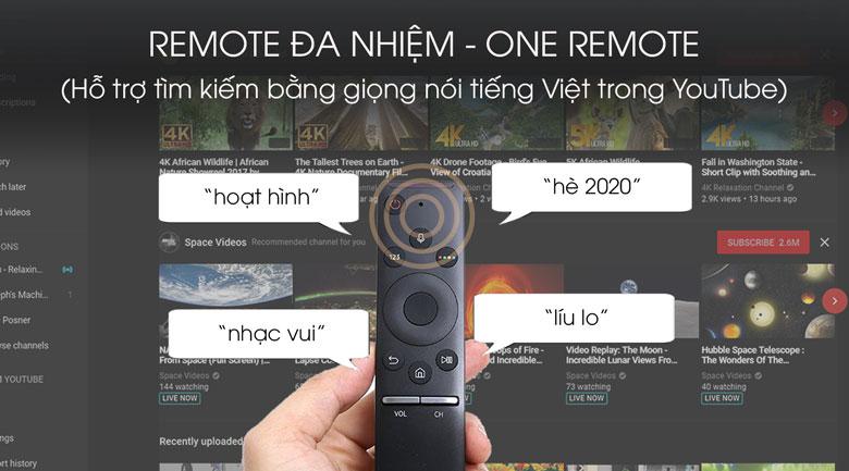 One Remote điều khiển tìm kiếm nội dung - Smart Tivi 43Q65T Samsung