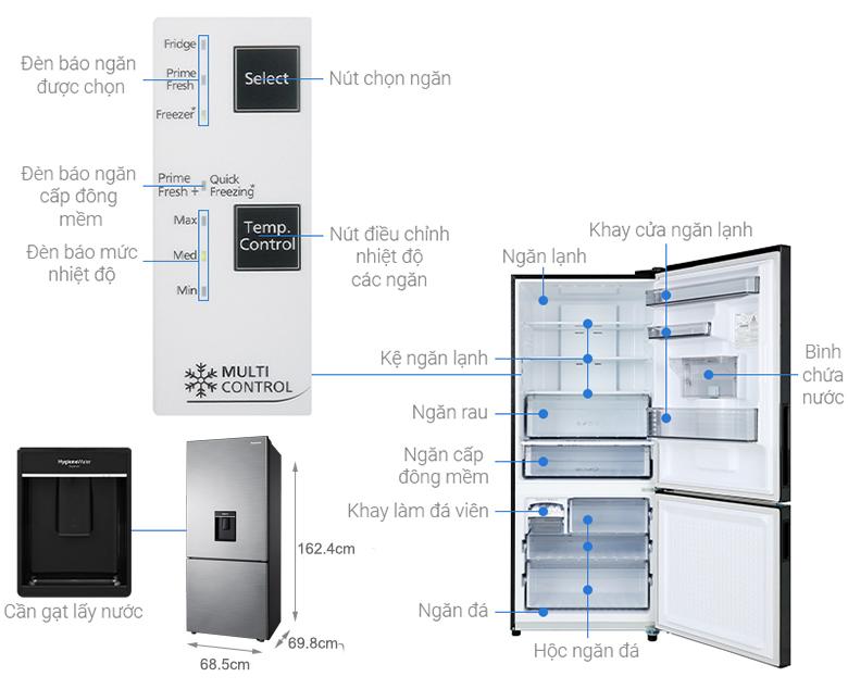 chi tiết - Tủ lạnh Panasonic Inverter 368 lít NR-BX410WPVN