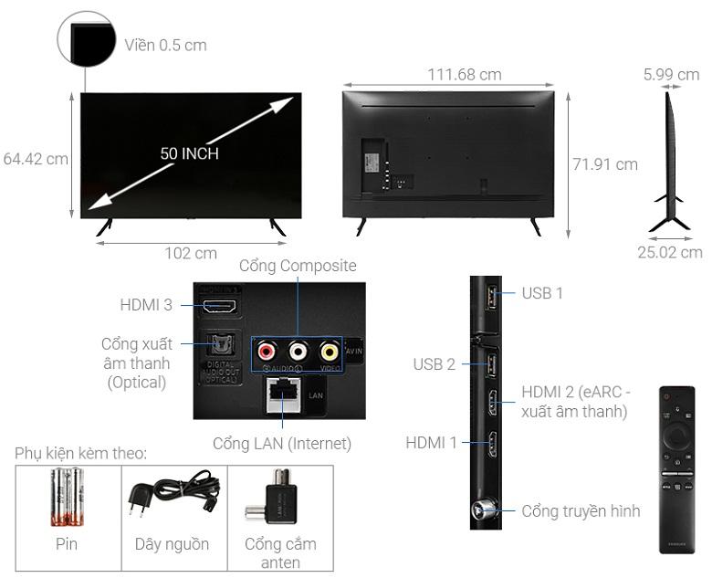 Thiết kế sang trọng - Smart Tivi Samsung 4K 50 inch UA50TU8100KXXV