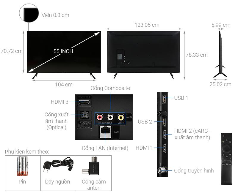 Thiết kế hiện đại - Smart Tivi Samsung 4K 55 inch 55TU8100