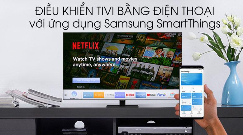 SmartThings thỏa thích vào các chương trình QLED Samsung 4K 55 inch QA55Q80T bằng điều khiển điện thoại
