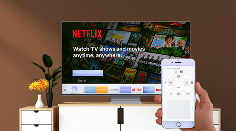 Điều khiển tivi bằng điện thoại - Smart Tivi QLED Samsung 8K 65 inch QA65Q800TAKXXV