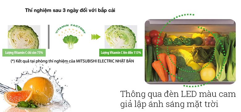 Tủ lạnh Mitsubishi Inverter 450 lít MR-CGX56EP-GBK-V có ngăn rau quả riêng biệt