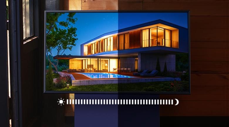 Điều chỉnh ảnh sáng khi xem phù hợp với căn phòng - Samsung 4K 43 inch QA43LS05T Smart TV