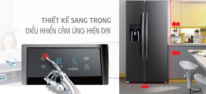 Tủ lạnh SBS Toshiba Inverter 493 lít RS637WE-PMV - thiết kế sang trọng
