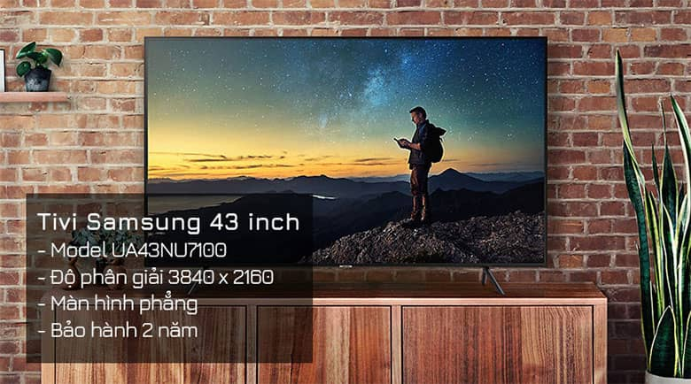 Tivi hãng nào tốt nhất: Smart Tivi Samsung 4K 43 inch UA43NU7100KXXV