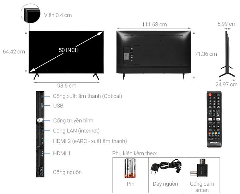 Kích thước Tivi Samsung 50TU700