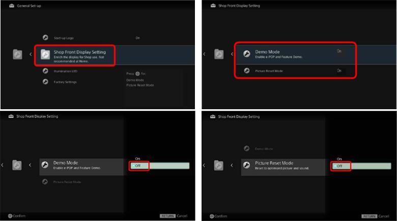 tắt chế độ Demo trên tivi Sony - tắt chế độ vòng lặp