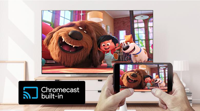 Chia sẻ nội dung từ thiết bị di động lên TV Sony KD-55A9G dễ dàng với tính năng Chromecast built-in
