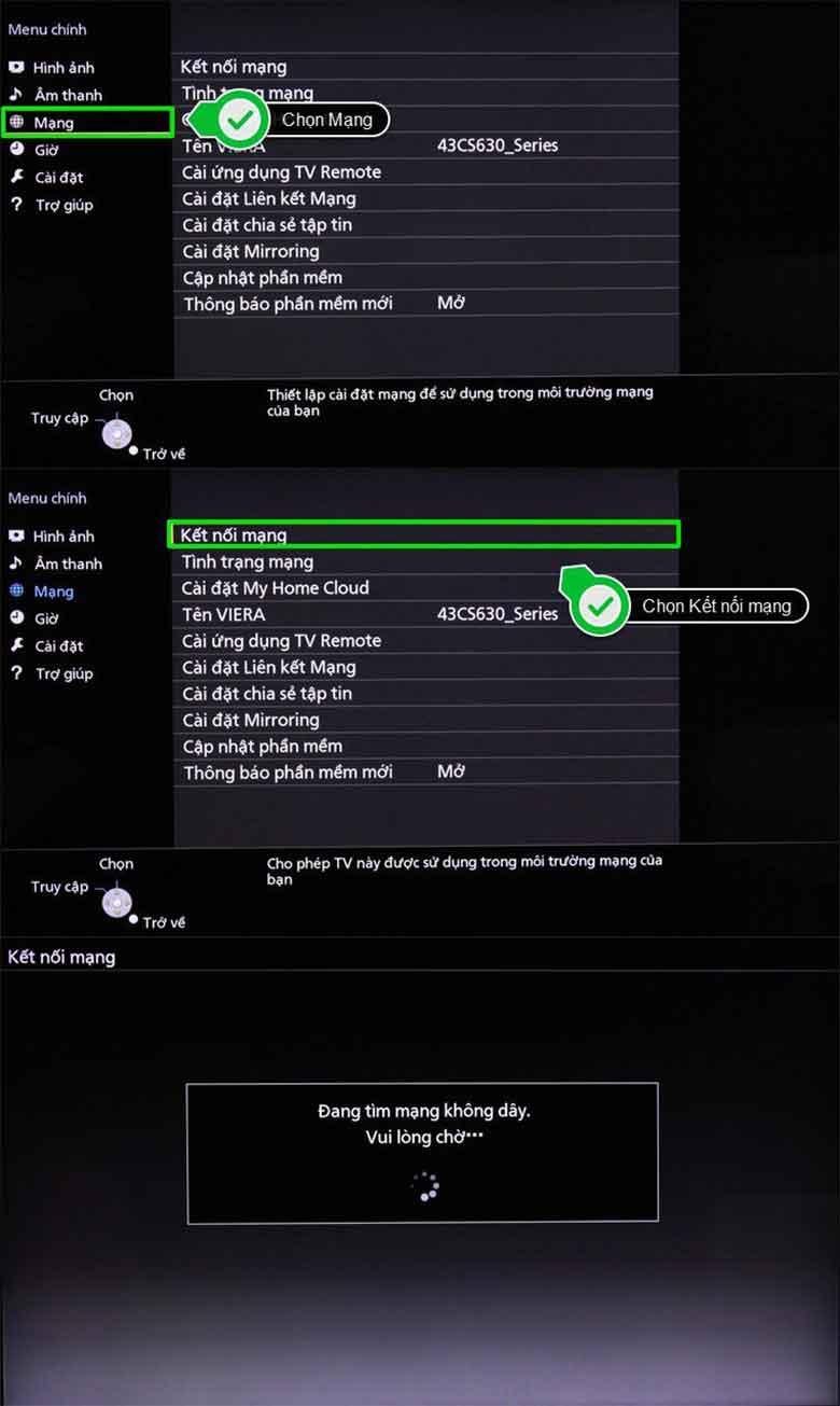 Cách kết nối wifi cho tivi Panasonic nhanh chóng