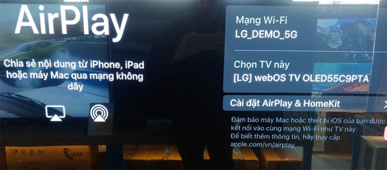 kết nối iphone với tivi LG qua AirPlay2bước 3