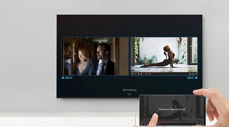 Tivi Samsung UA55TU8500 giúp bạn chia đôi màn hình xem được nhiều nội dung hơn