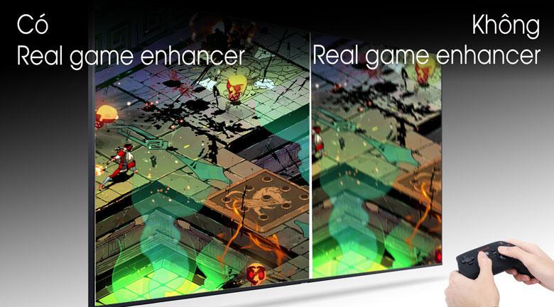 Trải nghiệm các trò chơi rất mượt không bị lác nhờ công nghệ Real Game Enhancer+ 4K Tivi SamsungQA75Q70T