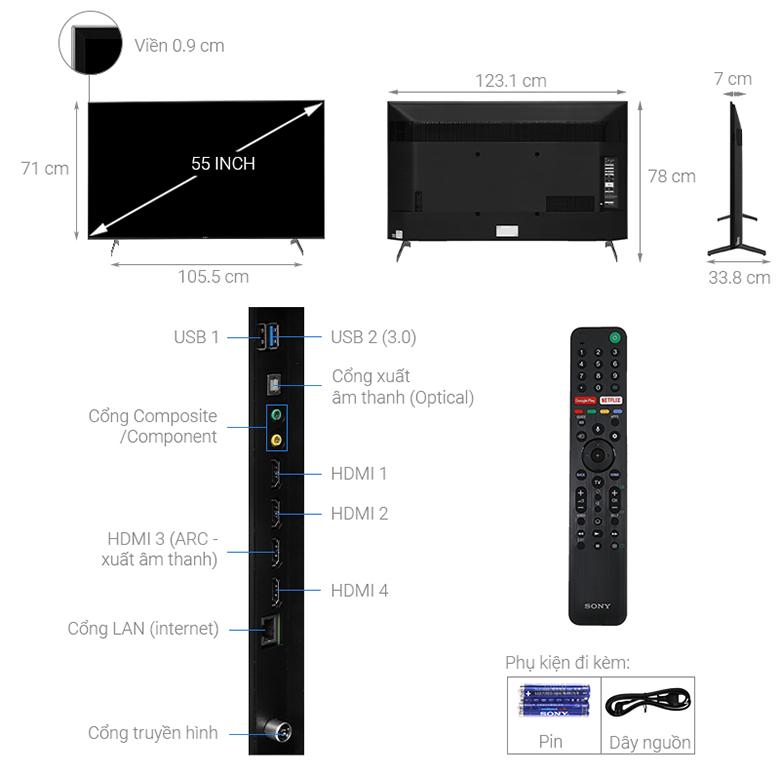 Thông số kỹ thuật Android Tivi Sony 4K 55 inch KD-55X9000H/S
