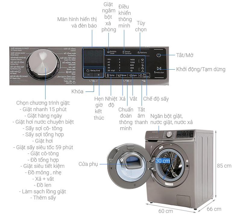 ảnh kích thước -Máy giặt sấy Samsung Inverter 10.5 kg WD10N64FR2X/SV