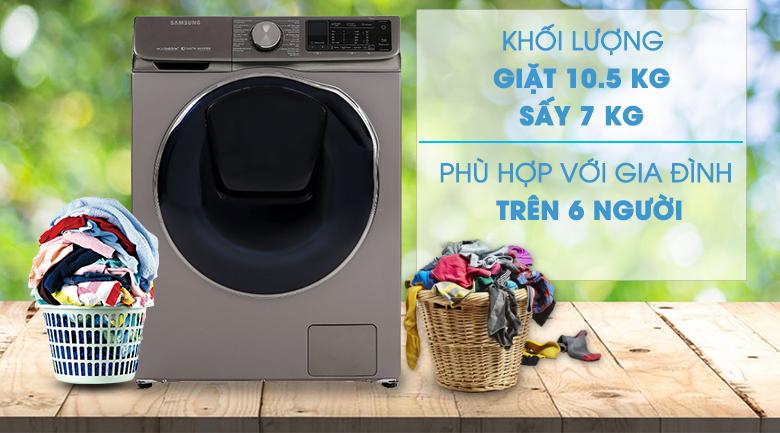 Khối lượng giặt-Máy giặt sấy Samsung Inverter 10.5 kg WD10N64FR2X/SV