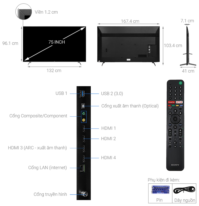 Kích thước Android Tivi Sony 4K 75 inch KD-75X9000H
