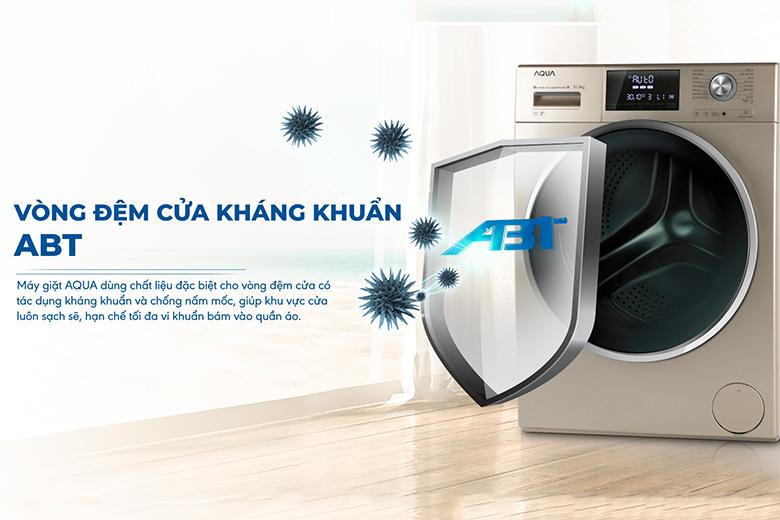Vòng đệm cửa kháng khuẩn ABT-Máy giặt Aqua Inverter 10.5 kg AQD-DD1050E.N lồng ngang