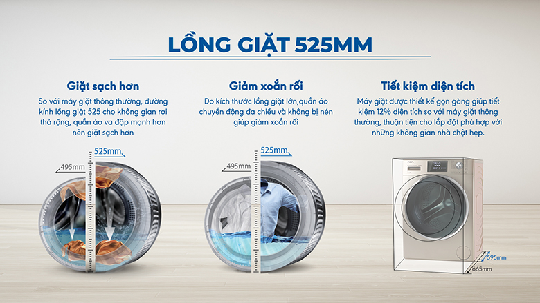 Lồng giặt 525mm-Máy giặt Aqua Inverter 10.5 kg AQD-DD1050E.N lồng ngang