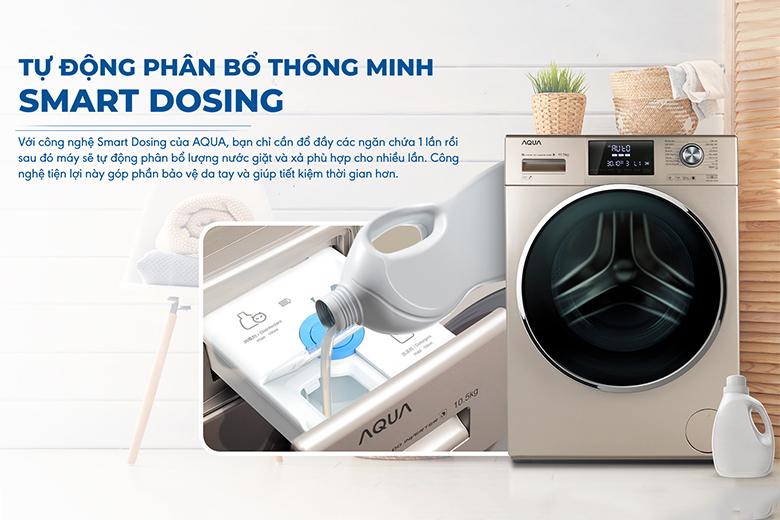 Smart Dosing-Máy giặt Aqua Inverter 10.5 kg AQD-DD1050E.N lồng ngang