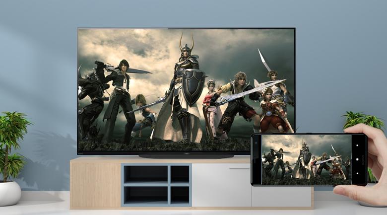 Chiếu màn hình điện thoại lên tivi - Android Tivi OLED Sony 4K 48 inch KD-48A9S