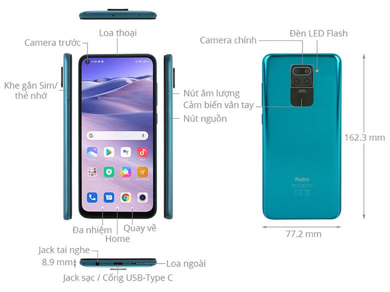 Thiết kế tràn viền - Điện thoại Xiaomi Redmi Note 9 4GB/128GB Xanh - Hàng chính hãng