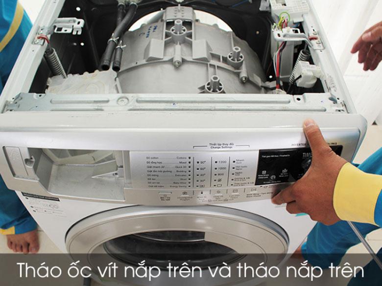 Tháo nắp trên và lưng máy giặtElectrolux cửa ngang