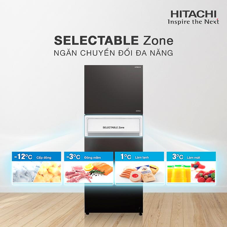 Tủ lạnh Hitachi Inverter 390 lít R-FVY510PGV0(GBK) có ngăn chuyển đổi đa năng
