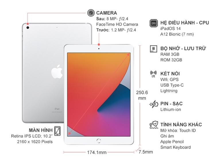 Kích thước - Máy tính bảng Apple iPad Gen 8 2020 Wifi 32GB 10.2 inch Bạc MYLA2ZA/A - Hàng chính hãng