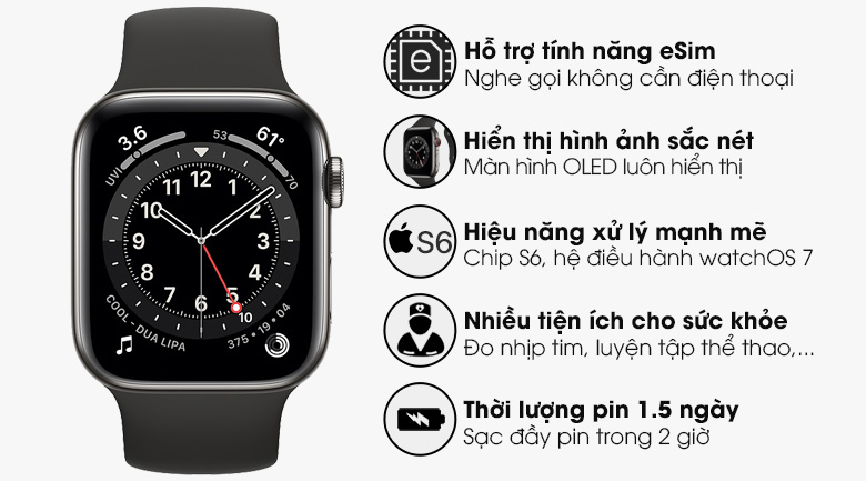 Thiết kế đẹp - Đồng hồ Apple Watch Series 6 GPS+Cellular 40mm Space Gray Aluminium Case &BlackSportBand M06P3VN/A